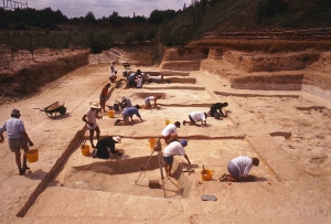 Near the start of excavation at the waterhole site at Boxgrove Quarry 1B in 1995 (M Pitts)