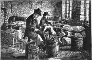 Scene inside a Brandon workshop in the 1870s, engraved after a photo for Skertchly. The various stages of the manufacturing process were tossed into barrels, and barrels were also used for shipping the finished gunflints