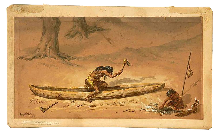 American Indians making canoe